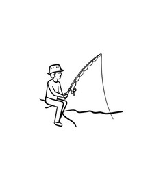 fishing hand drawn sketch icon vector image