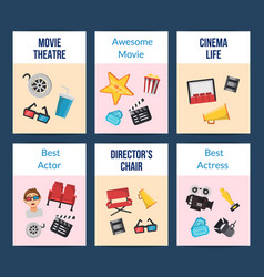 flat cinema icons card set vector image