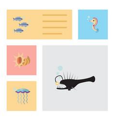 Flat icon nature set of tuna medusa seashell and vector