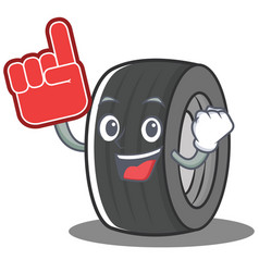 Foam finger tire character cartoon style vector