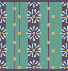 folk daisies on green with beads seamless vector image