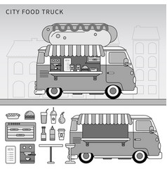 food truck with hot-dog on street line vector image