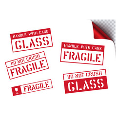 Fragile handle with care retro sticker box vector