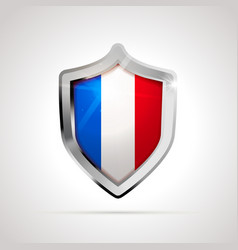 france flag projected as a glossy shield on a vector image