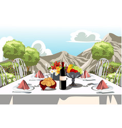 Garden party table arrangement vector