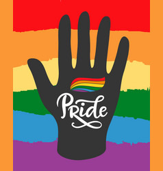 Gay lesbian pride poster with rainbow flag vector