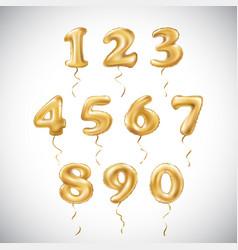 Golden number metallic balloon party decoration vector