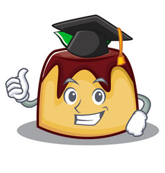 Graduation pudding character cartoon style vector