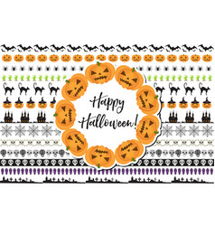 Halloween set of holiday borders decorations vector