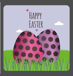 happy easter greeting card with two eggs vector image