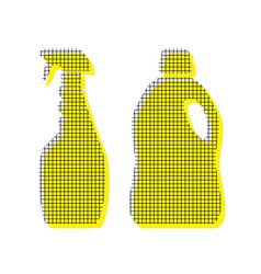 Household chemical bottles sign yellow vector