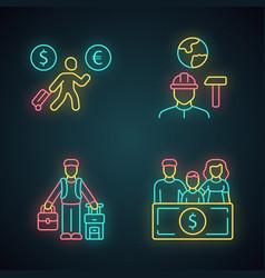 Immigrants neon light icons set economic migrant vector