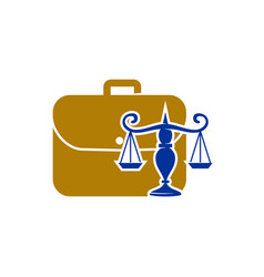 Law justice firm logo suitcase employment design vector