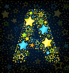 Letter a cartoon star colored vector
