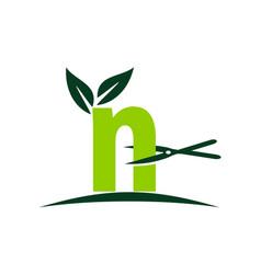 Letter n lawn vector