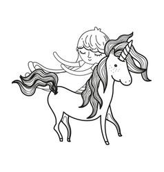 Line cute sweet unicorn with girl sleeping vector