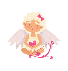lovely baby girl holding pink heart cartoon cupid vector image