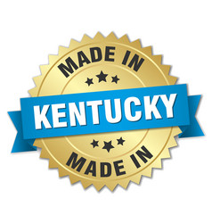 Made in kentucky gold badge with blue ribbon vector