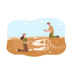 Male and female archaeologist discovering vector