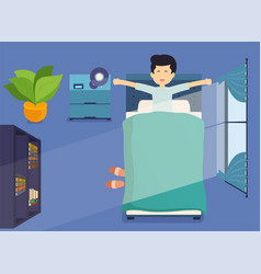 man wakes up in morning and stretching in bed vector image