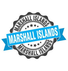 Marshall islands round ribbon seal vector