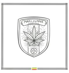 Medical marijuana logo black five vector