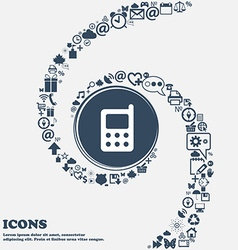 mobile phone icon sign in the center Around the vector image