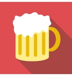 Mug with beer icon flat style vector image