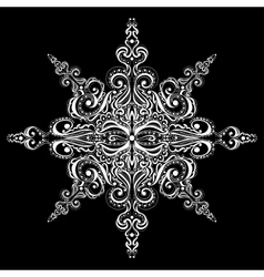 Ornamental white snowflake vector
