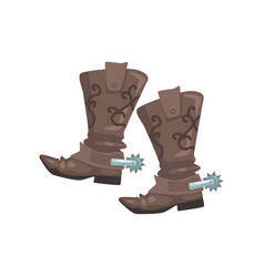 pair of cowboy leather boots symbol of the wild vector image