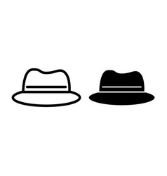panama hat line and glyph icon clothing vector image