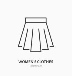 Pleated skirt flat line icon classic women vector