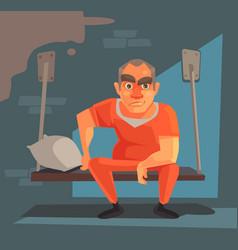 Prisoner man character prison vector