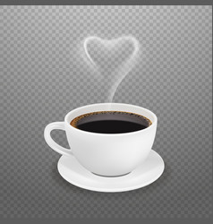 realistic coffee cup hot heart steam white vector image