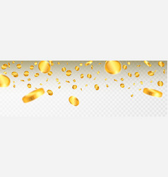 realistic gold coins explosion isolated on vector image