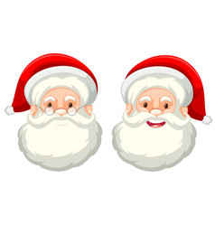 Santa claus facial expression on white background vector