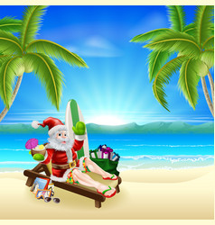 santa relaxing on hot sunny beach vector image