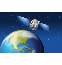 Satellite near the planet Earth vector