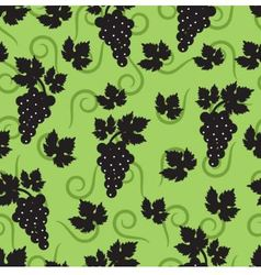 seamless green background with leaves and grapes vector image