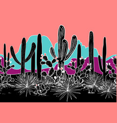 Seamless pattern with cacti and mountains vector