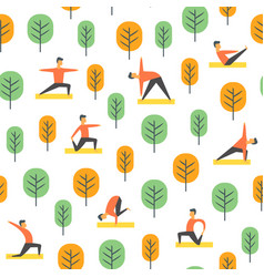 Seamless yoga poses pattern people in park vector