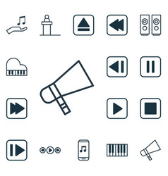 Set of 16 multimedia icons includes last song vector