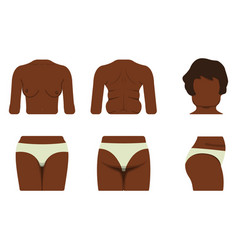Set of black woman body part fat and sporty body vector