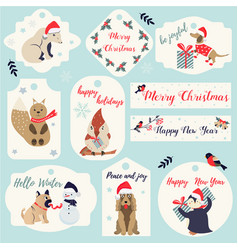 set of christmas new year holiday tags and badges vector image