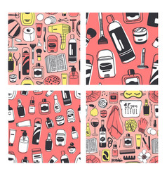 set of hand drawn seamless patterns with vector image