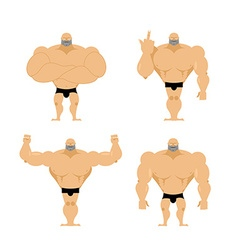 Set of strong men Healthy guys with big muscles vector