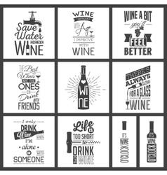 Set of vintage wine typographic quotes vector