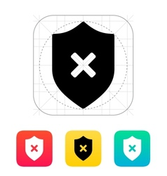 Shield with cross mark icon vector