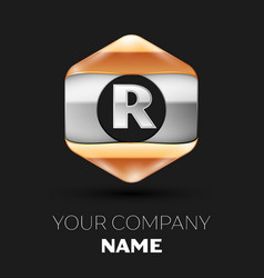 Silver letter r logo in silver-golden hexagonal vector
