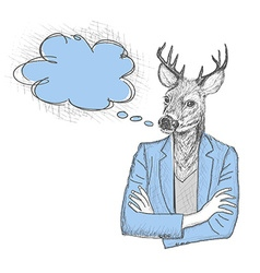 Skech of hipster deer with a empty speech bubble vector